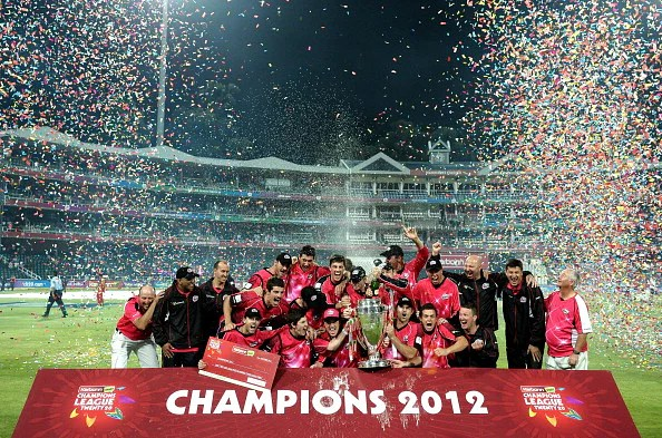 Sydney Sixers's squad celebrates their victory over the Highveld Lions on October 28, 2012