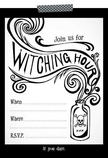 free printable halloween invitations black white