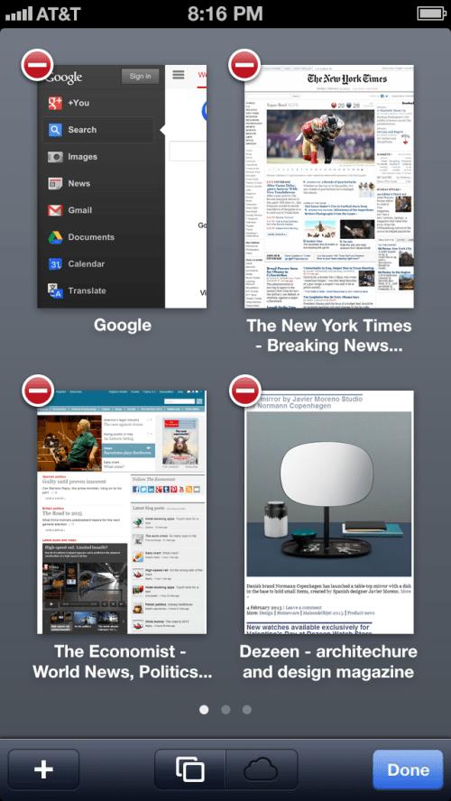 Safari iOS 7 gestione pagine aperte