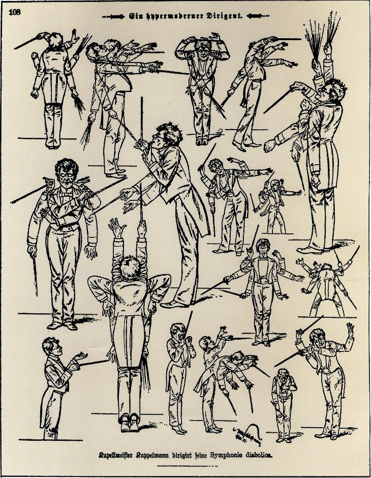 illustration of Gustav Mahler conducting, by Hans Schliessmann