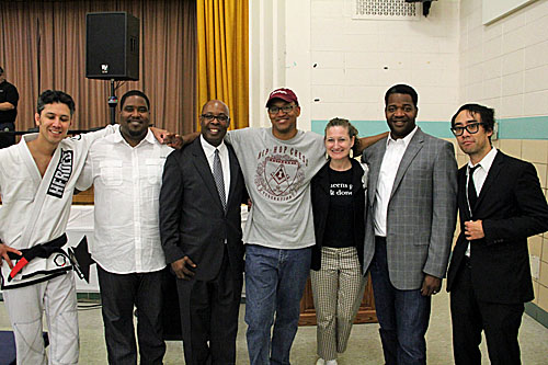 "L to R Alan ""Gumby"" Marques, rapper Asheru, Judge Jimmie Edwards, Susan Barrett of World Chess Hall of Fame, Dr. James Peterson, Mike Relm at Innovative Concept Academy"