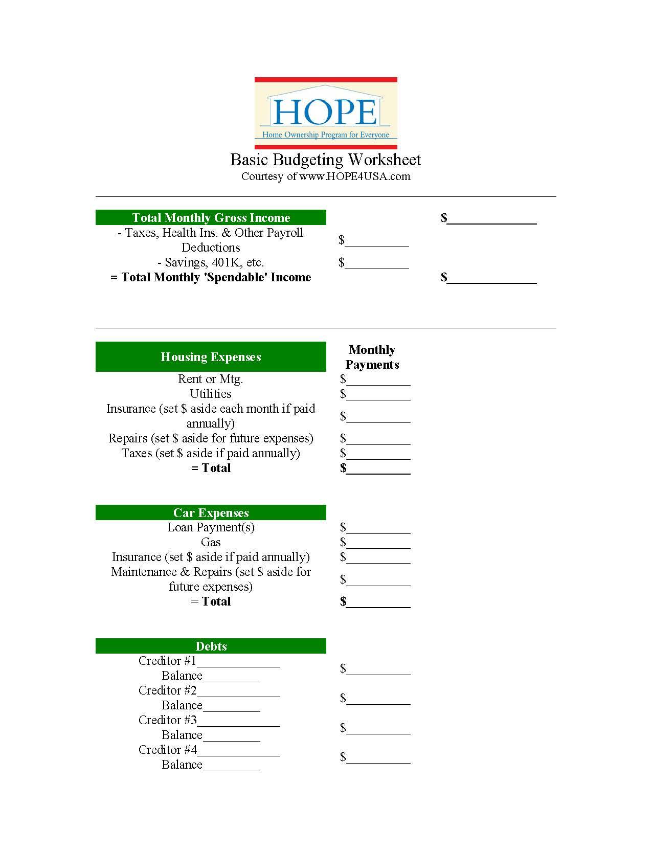Free T Hope S Basic Budgeting Worksheet