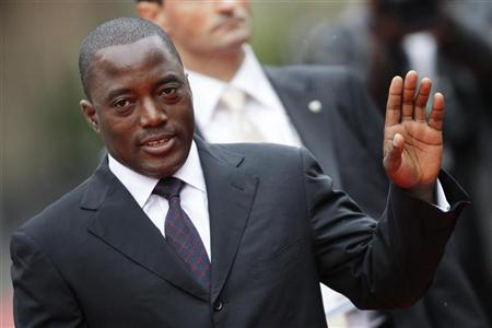 President of Congo Kabila arrives at the opening ceremony of the Francophone Summit in Montreux