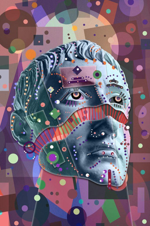 Collage avec sculpture de visage humain dans un style pop art.  Image de concept créatif moderne avec tête de statue ancienne.  La culture des zines.  Affiche d'art contemporain.  Conception d'art cryptographique.  Minimalisme punk génial.