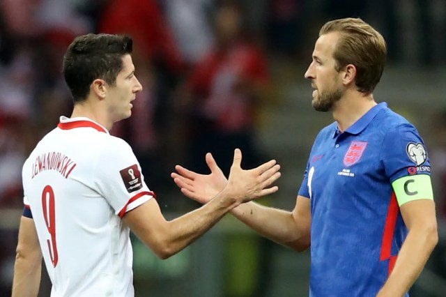 <p>Robert Lewandowski and Harry Kane went head to head as Poland hosted England in Warsaw </p>