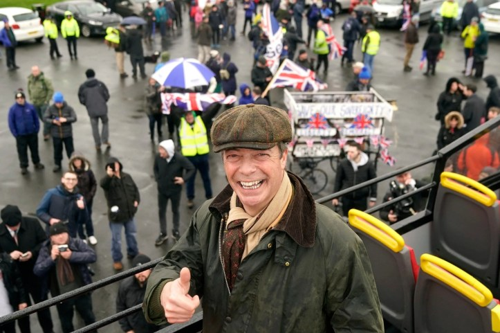 Nigel Farage at the launch of the so-called Brexit 'betrayal' march in Sunderland