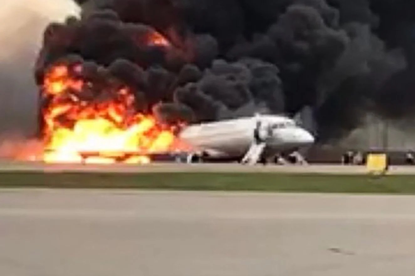 Moscow Plane Fire Horror Blaze After Emergency Landing