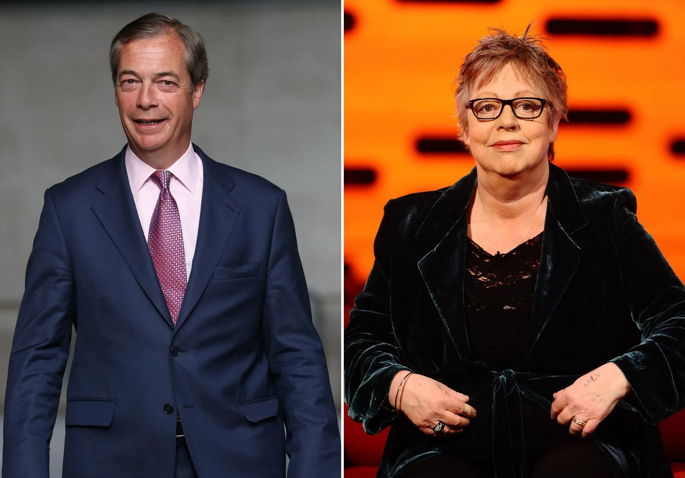 Jo-Brand-and-Nigel-Farage BBC must explain why it broadcast Jo Brand's battery acid comments over Nigel Farage, Theresa May says
