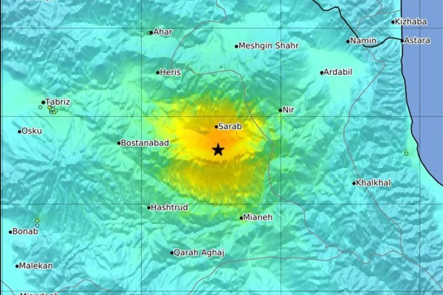 USGS graph showing the location of the powerful earthquake, which struck at a depth of 10 km, 57 km northeast of Hastrud