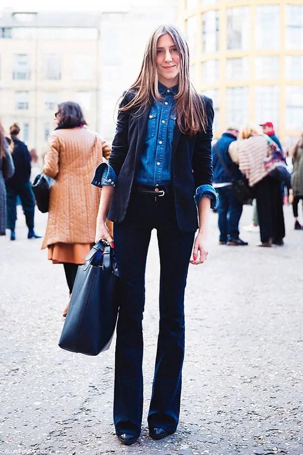 Resultado de imagem para calca flare jeans com blazer looks
