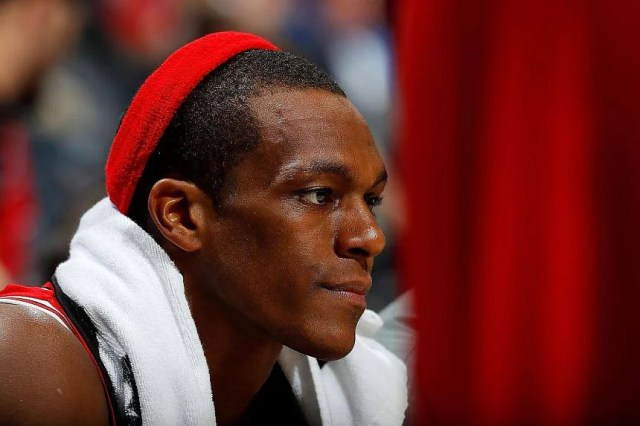 Rajon Rondo #9 of the Chicago Bulls looking on from the bench in the final minutes of their 115-107 loss to the Atlanta Hawks at Philips Arena, on Nov 9, 2016, in Atlanta, Georgia.