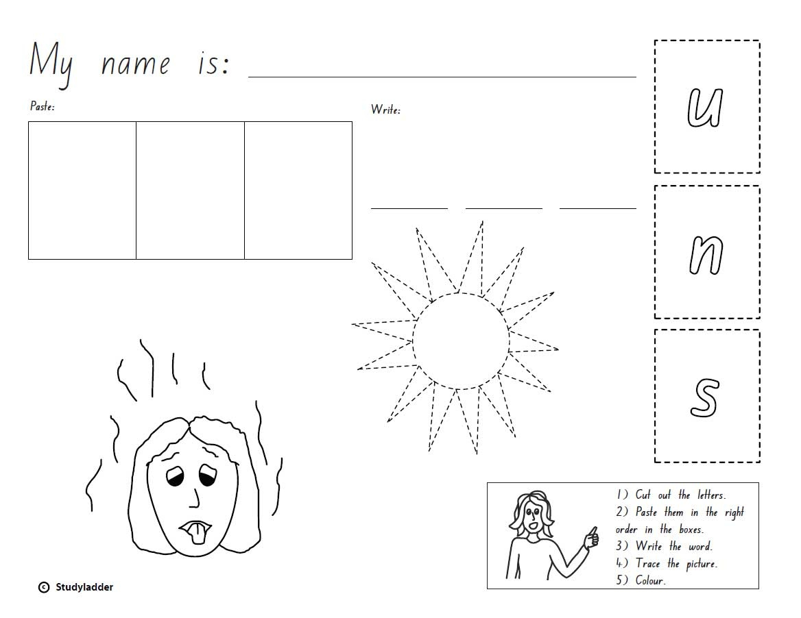 Cut Paste And Write The Word Sun