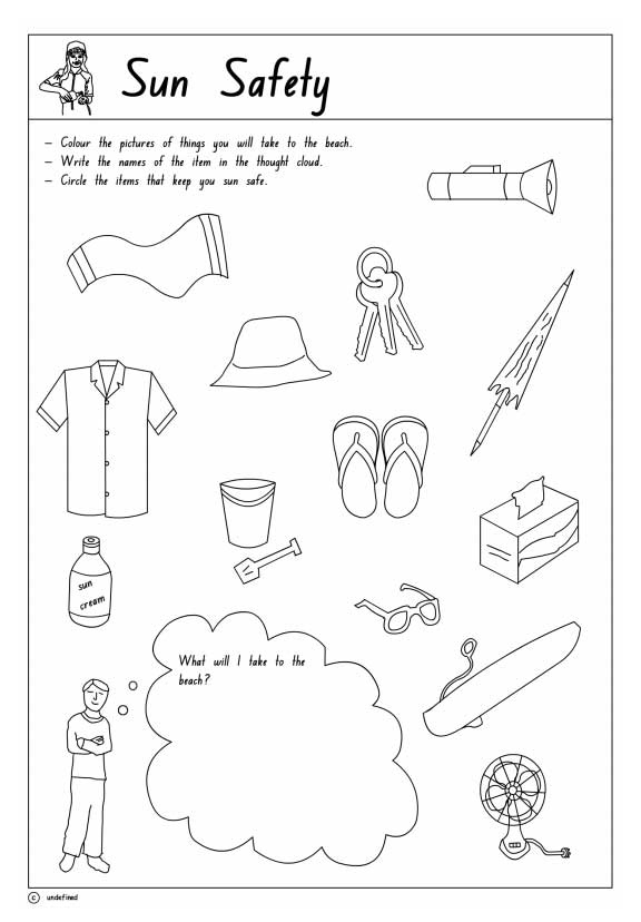 Sun Safety Printable 1 Health Safety And Citizenship