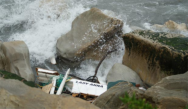 DROWNING: The Lady Anna rolled while coming over the bar at Greymouth.
