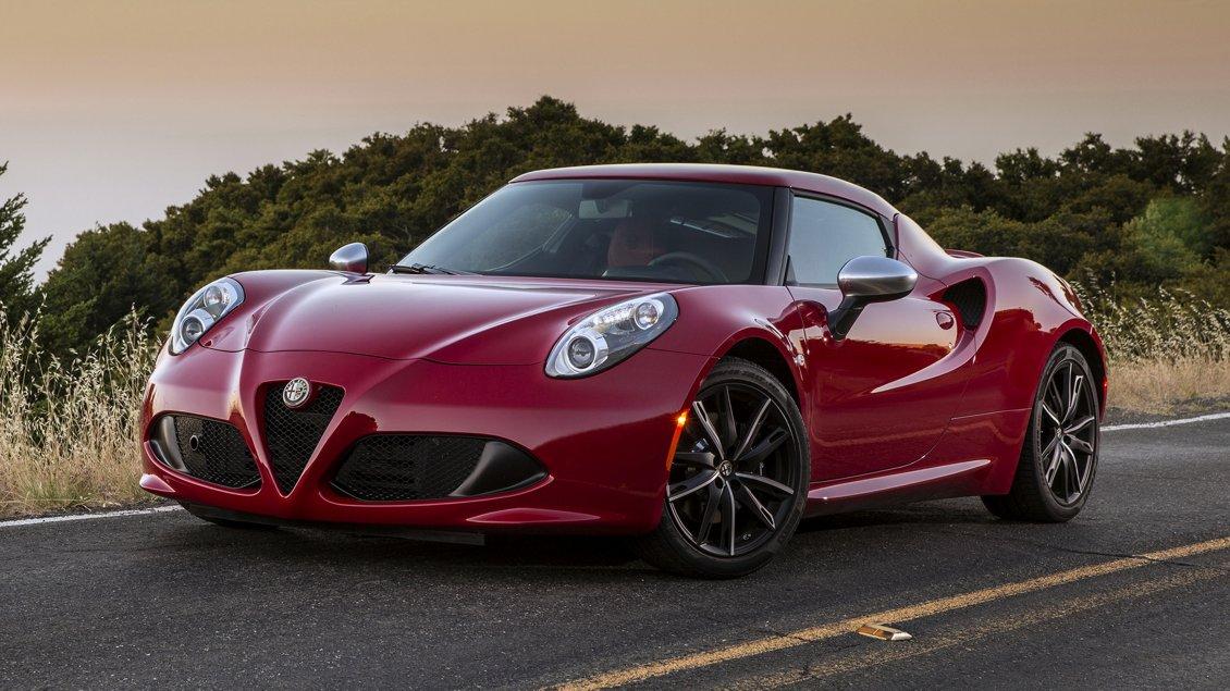 Red Alfa Romeo 4C With Black Rims