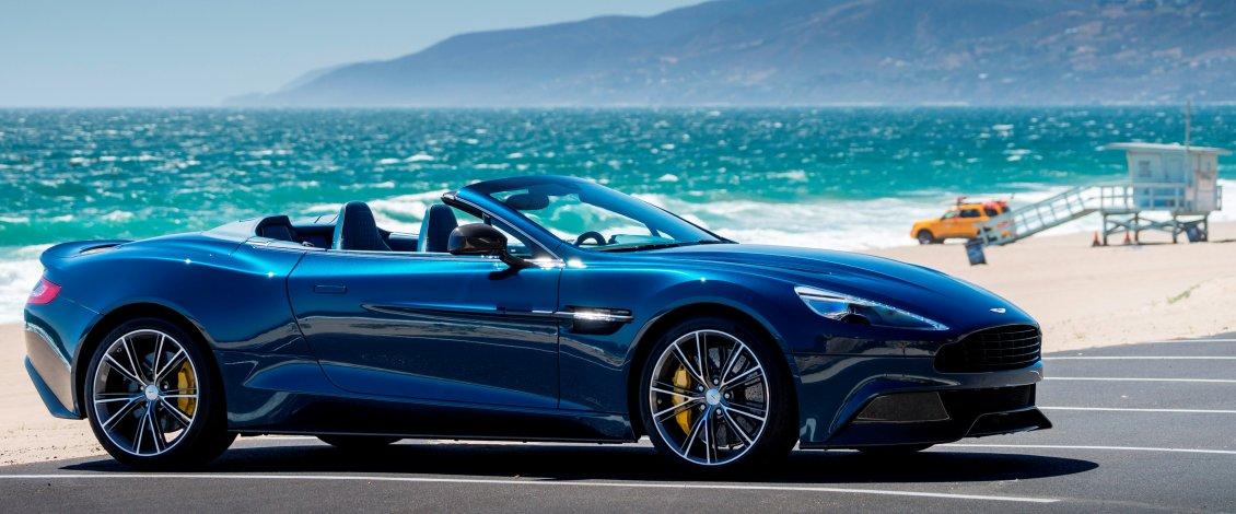Blue And Convertible Aston Martin Vanquish Volante