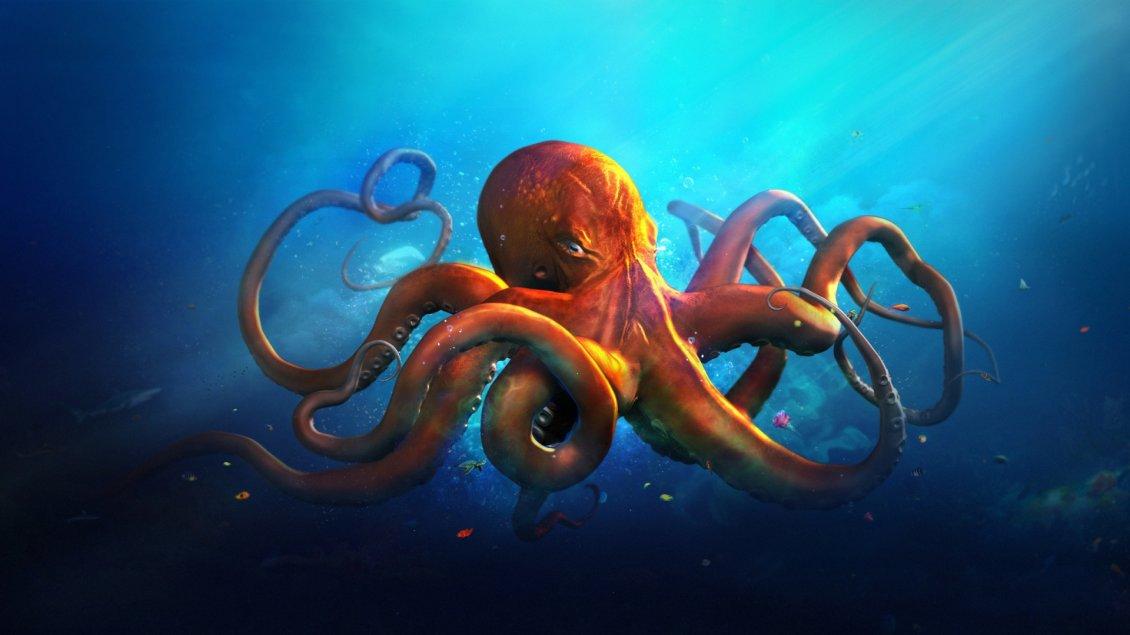 An Orange Octopus In Blue Sea Water
