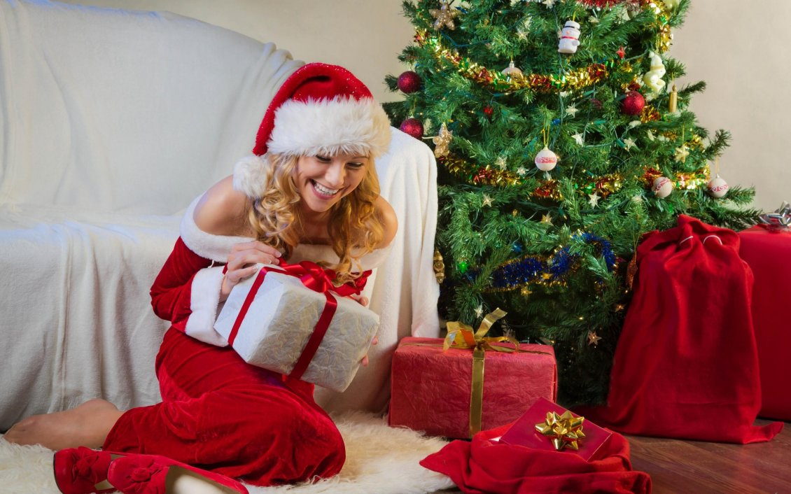 Happy Girl Open The Christmas Gifts From Santa Claus