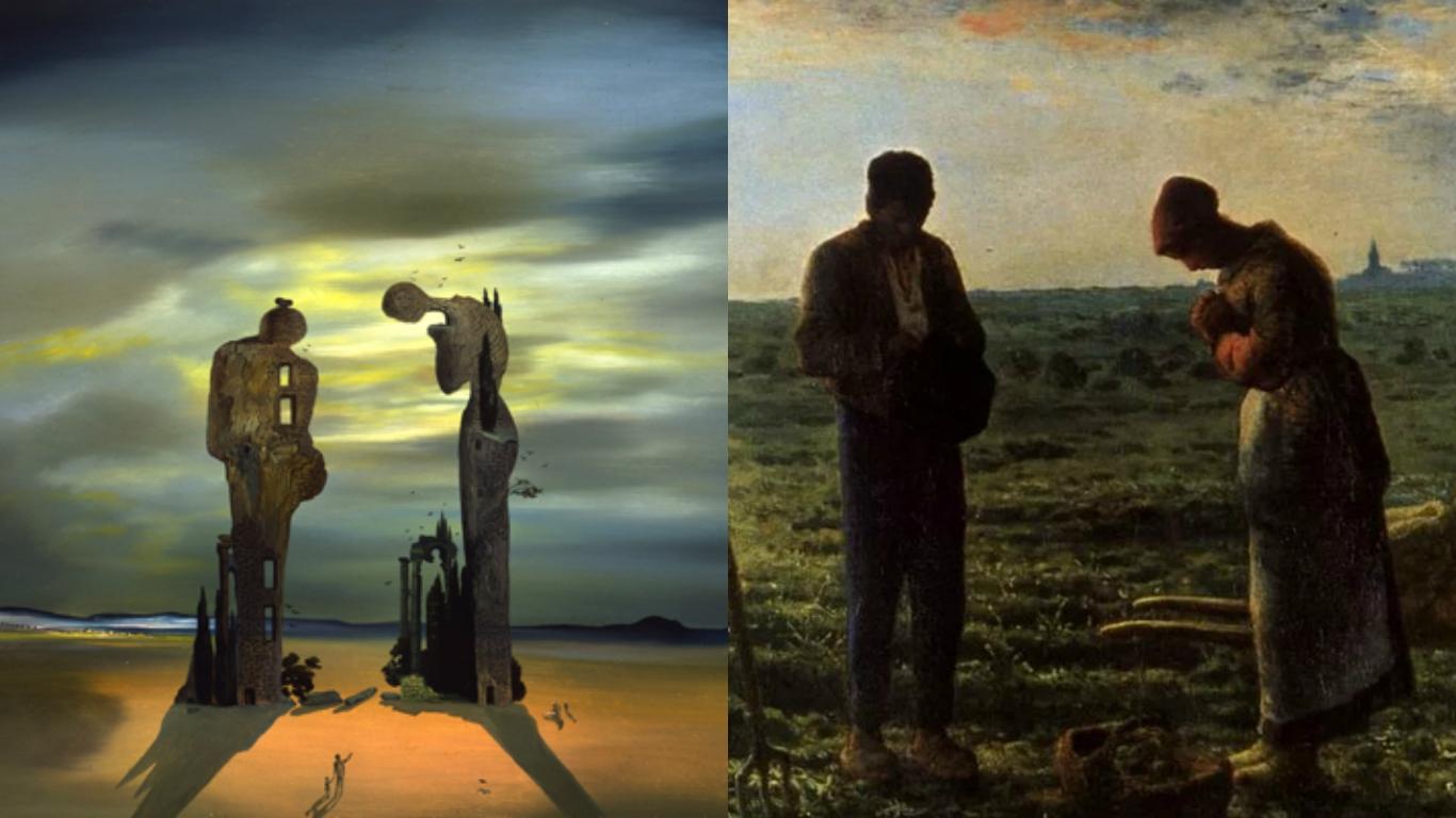 La obra de Dalí (izquierda) inspirada en por el Angeles (derecha) de Millet