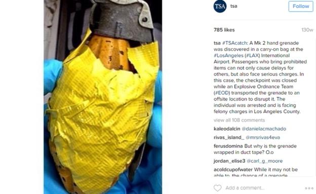 Esta granada fue descubierta en el equipaje de mano de un pasajero que volaba desde el Aeropuerto Internacional de Los Ángeles.