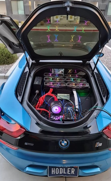 "Crypto enthusiast installs mining rig in BMW's trunk ""to annoy gamers"""