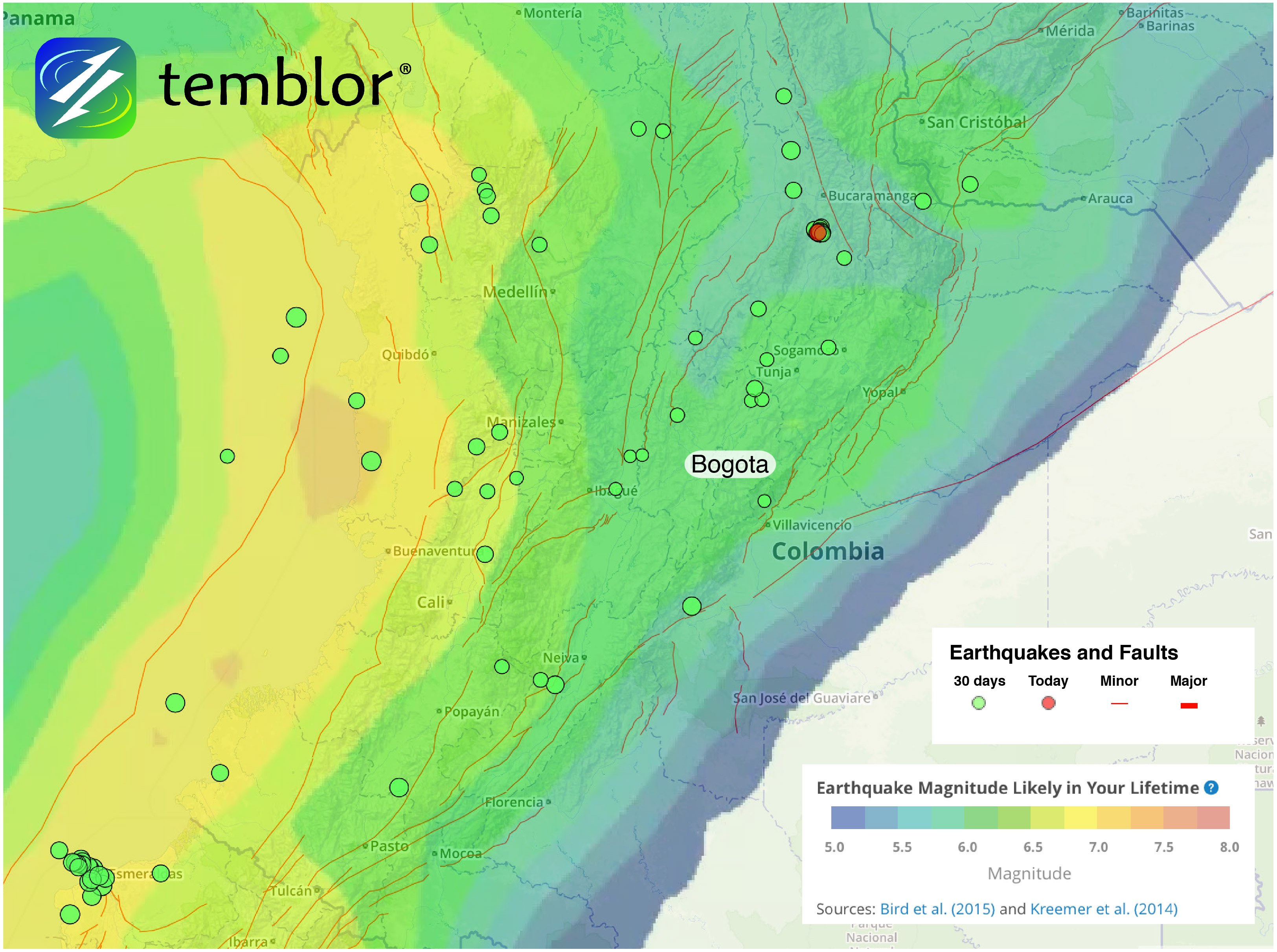 Colombia Fault Map     Temblor net Colombia Fault Map
