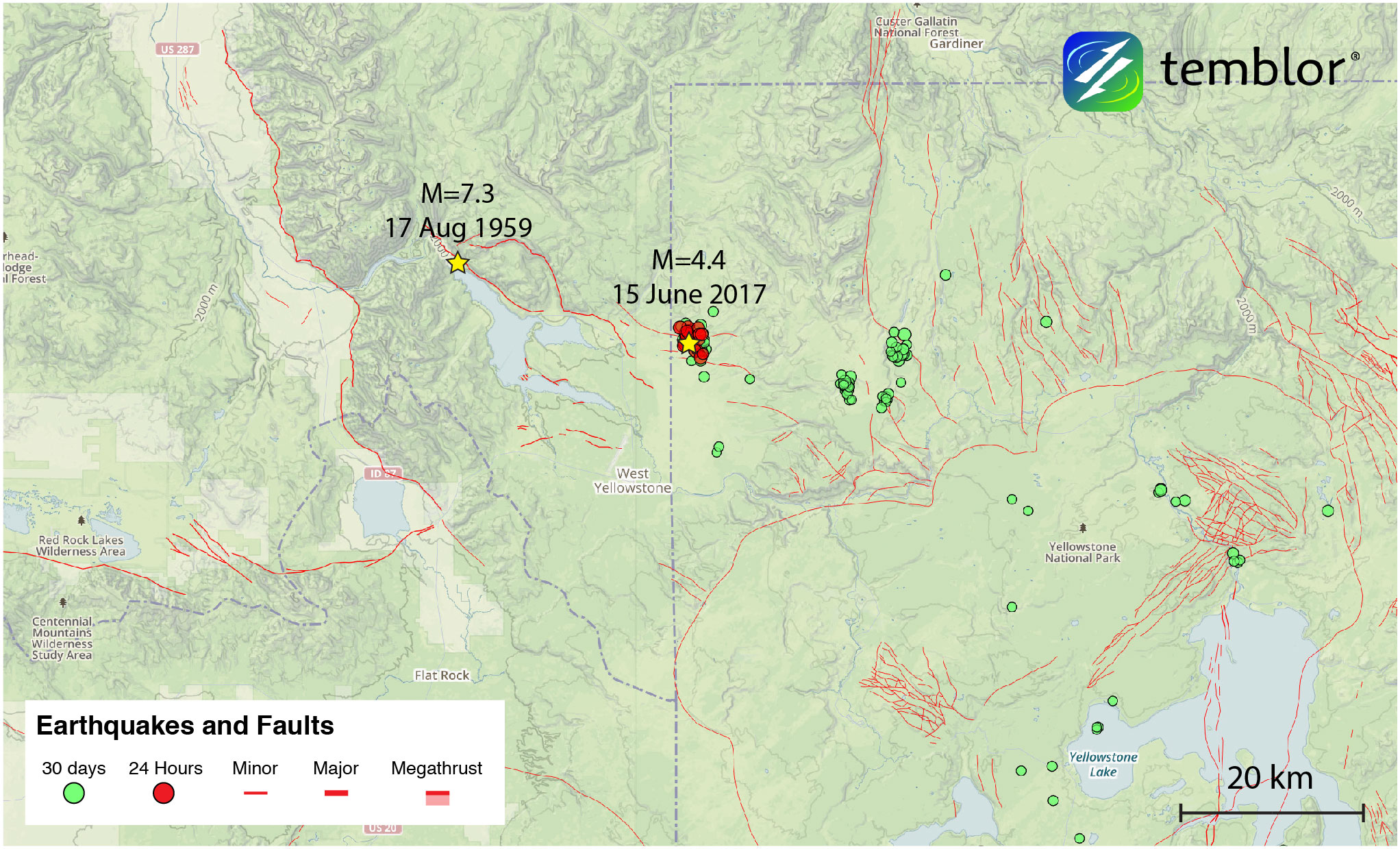 usgs earthquake map yellowstone From Temblor M 4 4 Earthquake Highlights In Progress Seismic usgs earthquake map yellowstone