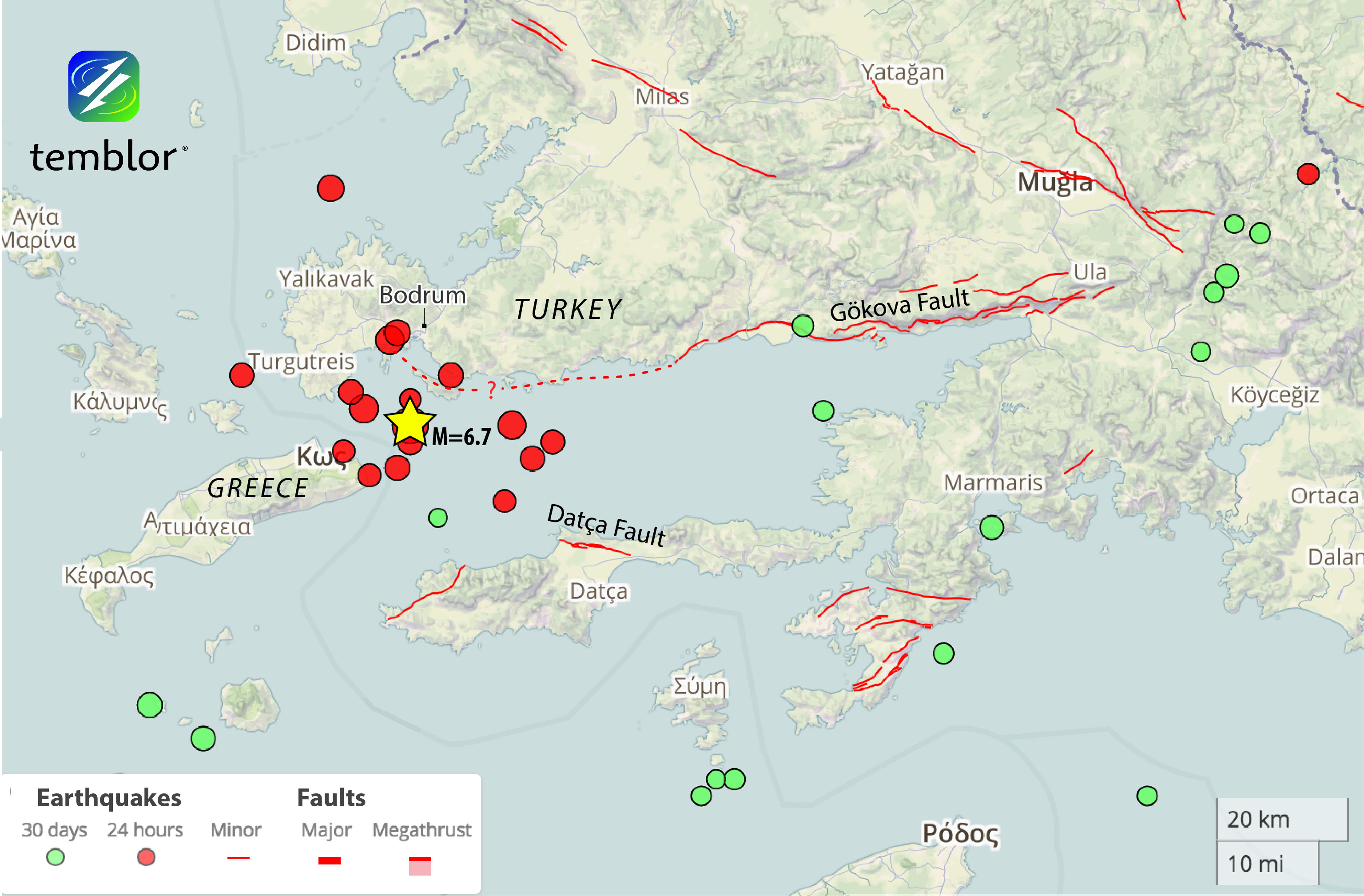 From temblor M67 earthquake near Greek and Turkish tourist