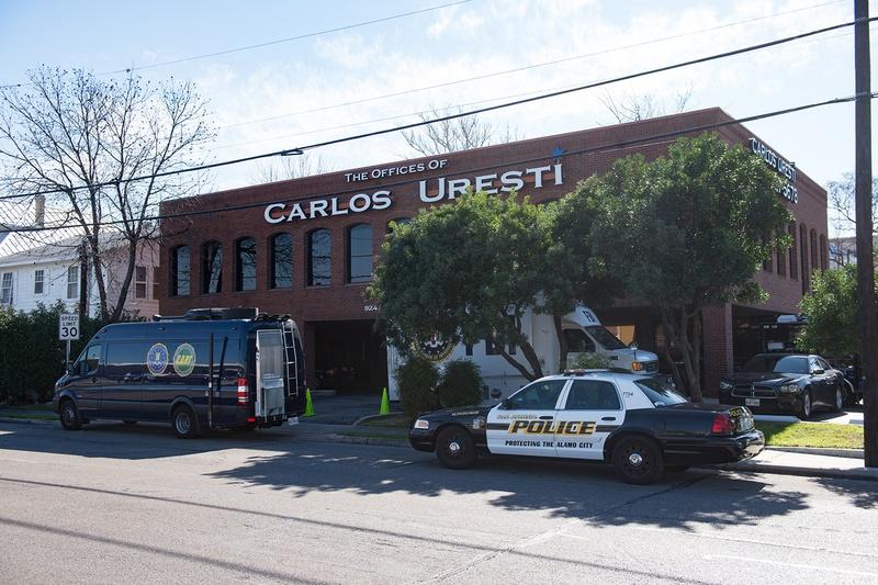 Law enforcement officers from the FBI and the Internal Revenue Service raid the San Antonio office of state Sen. Carlos Uresti, D-San Antonio, on Feb. 16, 2017.