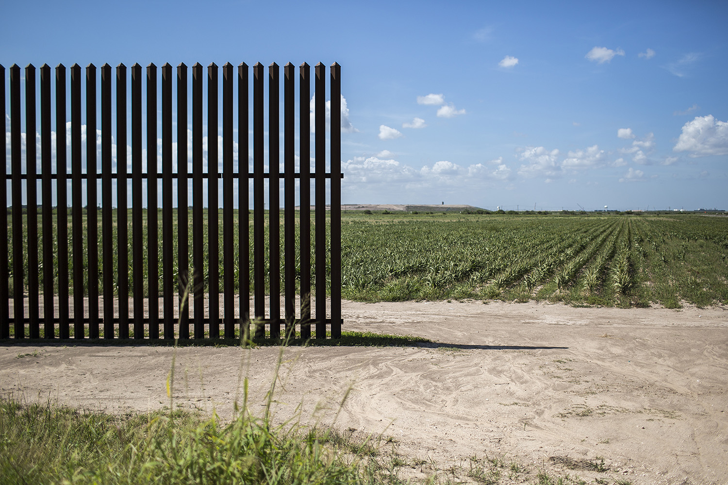 The end of a segment of border wall just east of Oklahoma Ave. on Aug. 11, 2017.
