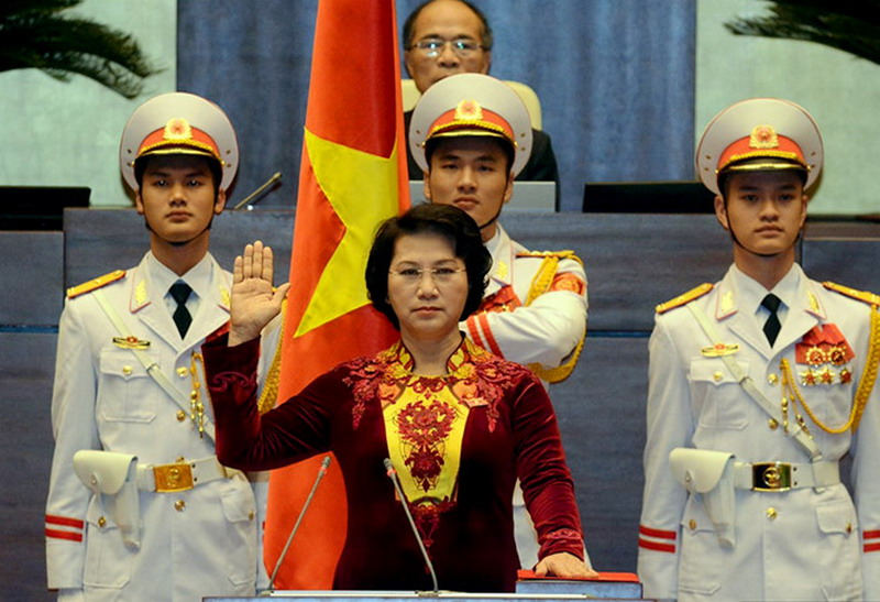 Nguyen Thi Kim Ngan was sworn in as parliament chairwoman on March 31, 2016. Photo: Ngoc Thang/Thanh Nien