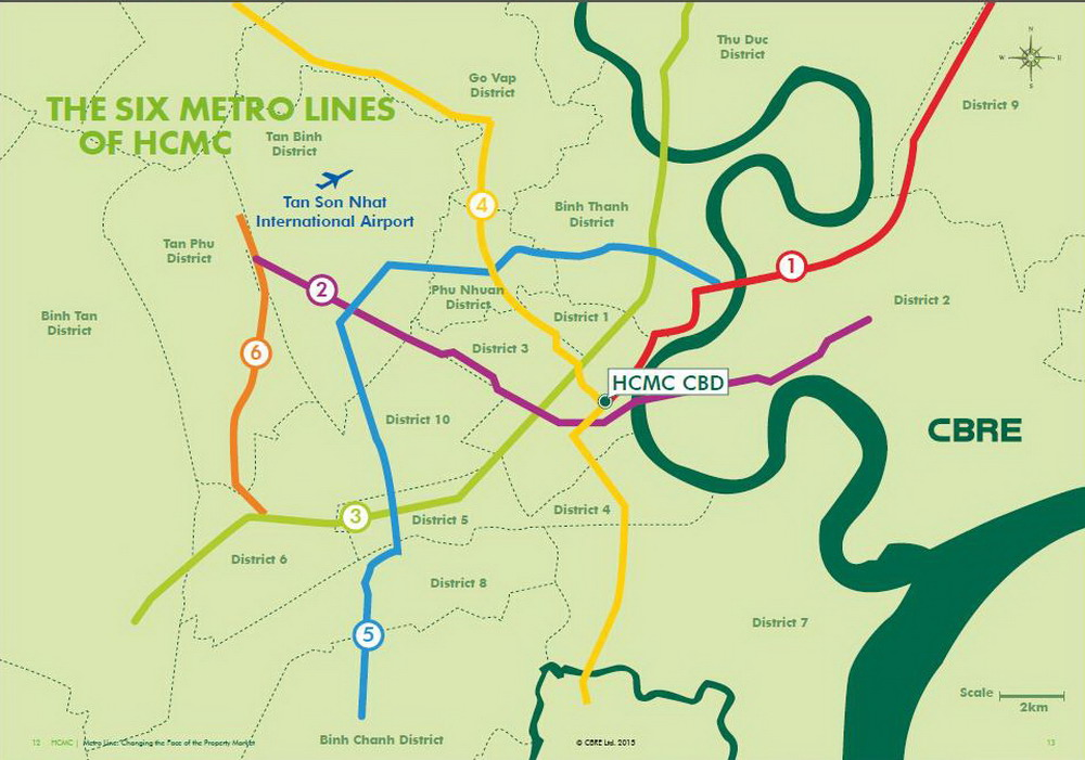 The six metro lines planned for Ho Chi Minh City. Photo credit: CBRE