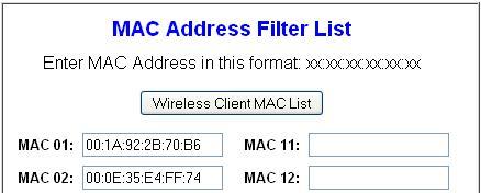 Add MAC Address List