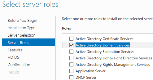 AD Select server roles