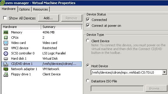 Propriedades ESXi ISO VM