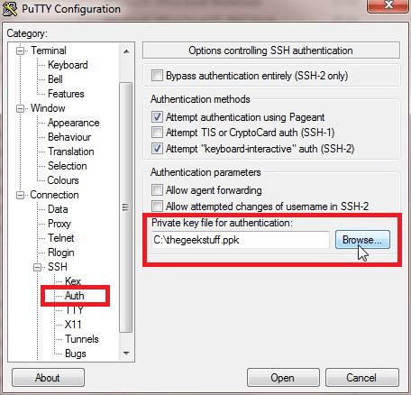PuTTY Selecionar arquivo de chave de autenticação SSH