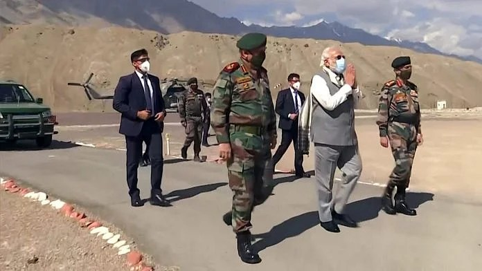 The armed forces veterans' statement has been sent to Prime Minister Narendra Modi (centre), CDS Gen. Bipin Rawat (left) and Army chief Gen. M.M. Naravane (right), among others (representational image) | Photo: ANI