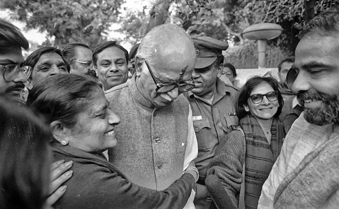After the Masjid was demolished L.K. Advani came back to Delhi, where he was hugged by wife Kamla Advani and at the right PM Narendra Modi welcomed him | Photo: Praveen Jain | ThePrint