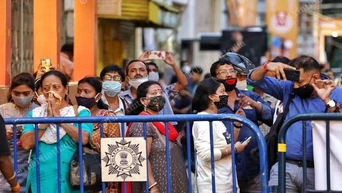 A crowd gathered outside a Durga Puja pandal in Kolkata   Representational image   Manisha Mondal   ThePrint