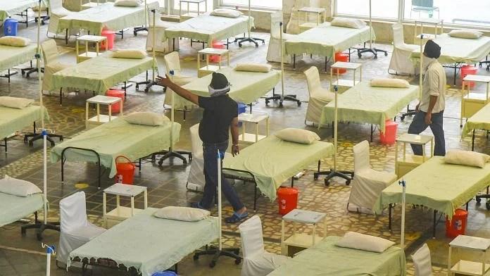 A temporary Covid care centre being prepared at Gurudwara Rakab Ganj Sahib in New Delhi, on 2 May 2021