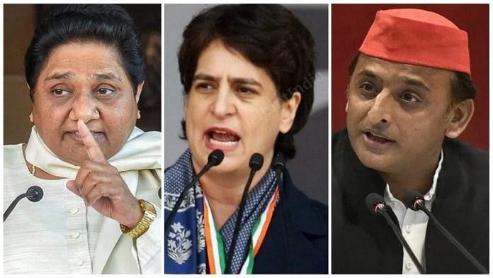 (From left to right) File photos of BSP chief Mayawati, Congress general secretary Priyanka Gandhi Vadra and SP chief Akhilesh Yadav. | Photos: PTI and ThePrint