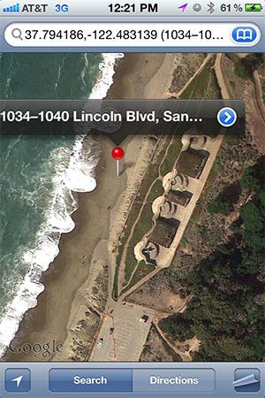 GPS map from Sarah's iPhone