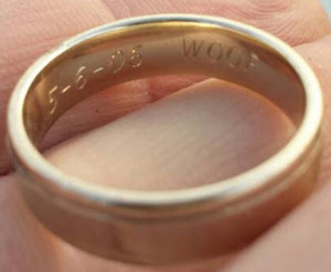 This is the photo of the ring I sent to the owner. It may have taken 6 weeks to find but he was happy to get it back!