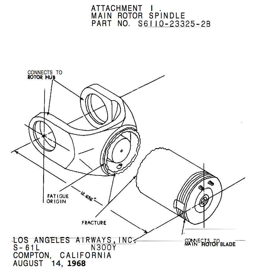 Diagram of fractured main rotor spindle ntsb