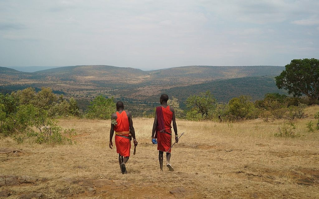 Two warriors in the Nashulai Maasai Conservancy. (Nora Nord)