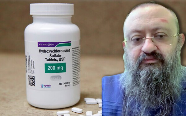 Dr. Vladimir Zelenko promoted hydroxychloroquine as a treatment for COVID-19. (Getty Images and screenshot from Whatsapp video via JTA)