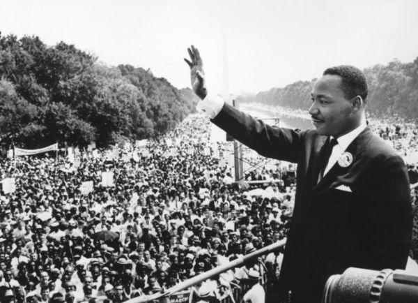 Martin Luther King Jr. durante a Marcha sobre Washington