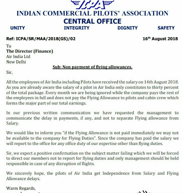 Pay our allowance or we stop flying: Pilots to AI – Latest
