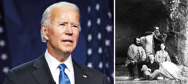 Joe Biden was in his late 20s when he received the letter from the Mumbai Biden and he has on several occasions spoken about the communication, even joking once about forging a political career in India; (R) Leslie Biden, who wrote the letter in 1972, was the son of Charles Horatio Biden, (above) a Briton