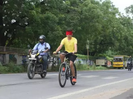 Image result for Fit India: Youth cycles 26km blindfolded in Ahmedabad